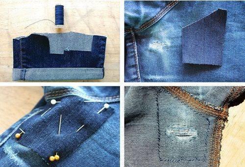 Как пришить заплатку вручную на локти и поврежденные брюки или джинсы
