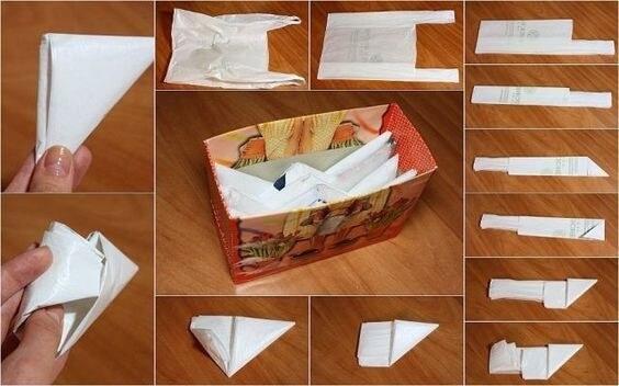 Как хранить пакеты на кухне и складывать дома, как сделать органайзер из бутылки, банки, коробки