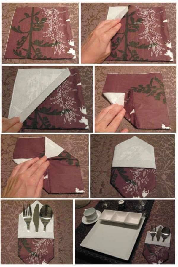Как красиво сложить бумажные салфетки на праздничный стол: схемы и описания